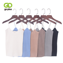 GOPLUS 2019 Sexy Fashion Crop Top Spring Knitted Tank top Striped Women top Vest V neck Tight Camis Female Sleeveless Blouse