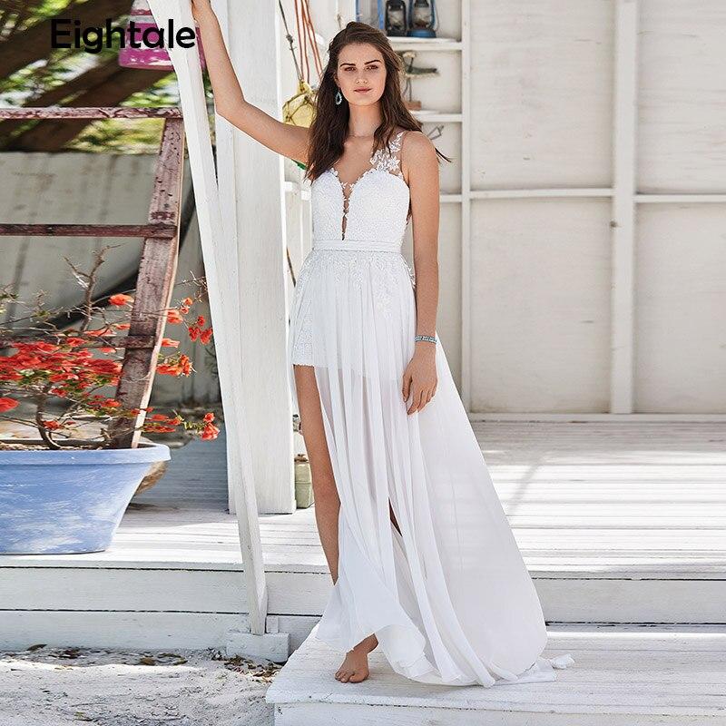 Eightale Beach Wedding Dresses Appliques Lace Chiffon V-Neck Side Split Wedding Gowns Sexy Bride Dress Free Shipping 2019