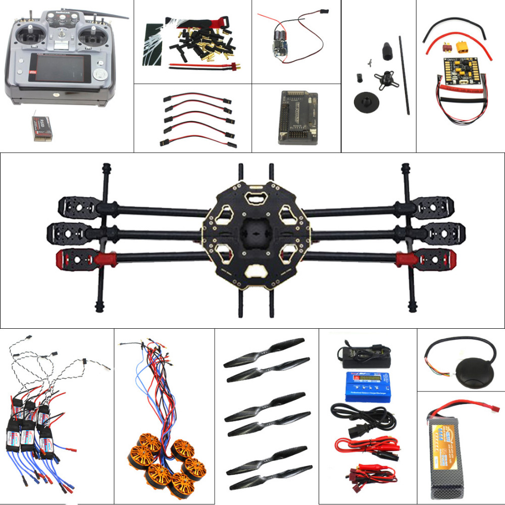 F07807-A Full Set Helicopter Drone 6-axle Aircraft Kit  680PRO Frame 700KV Motor GPS APM 2.8 Flight Control AT10Transmitter f11859 f full set drone quadrocopter aircraft kit 300h 300mm frame 6m gps apm 2 8flight control flysky fs i6 transmitter