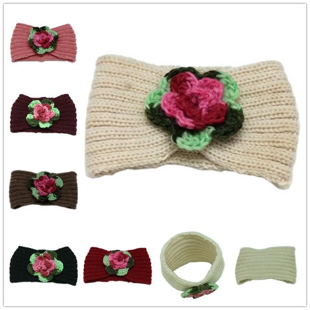 Nuevo diadema de punto para mujeres niñas Crochet flor de invierno ...