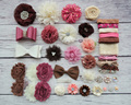Baby Shower Headband Station Kit,DIY Headband Making Kit,First Birthday Party Headband Kit,Hair Bow Kit ,Brown,ivory,coral S42