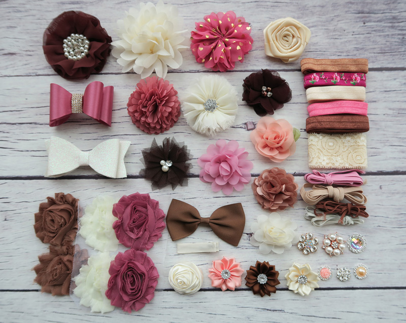 Shower Headband Station Kit,DIY Headband Making Kit,First Birthday Party Headband Kit,Hair Bow Kit ,Brown,ivory,coral S42 цена и фото
