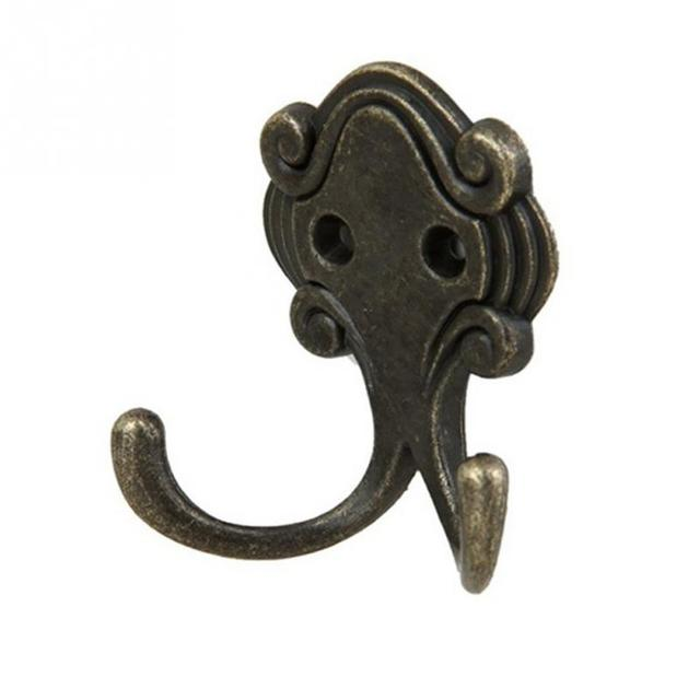 Hardware 2 Vintage Metal Brass Plated Iron Wall Coat Hat Clothes Hook Hanger Double Peg Antiques