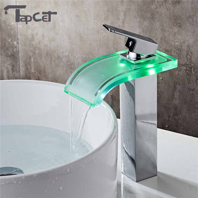 TAPCET LED Bathroom Basin Faucet Copper Waterfall Taps Water Power ...