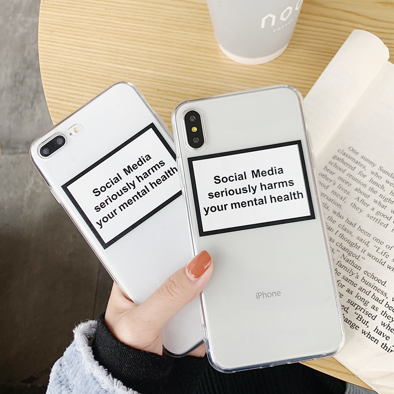 For iphone 7 case clear X XS MAX XR iphone 11 pro max Cover Case social media seriously harms your mental health transparent soft case cover image