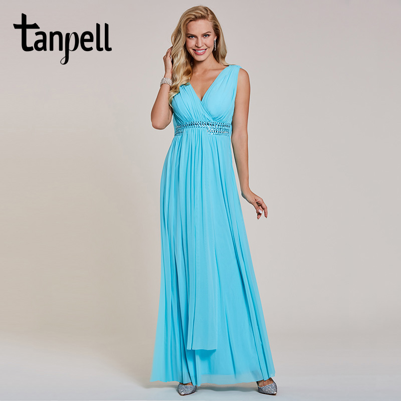 Tanpell Long Evening Dress Elegant Sky Blue V Neck Sleeveless Floor Length A Line Dress Cheap Crystal Draped Formal Evening Gown