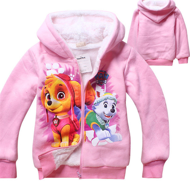 Cotton Kids Winter Jackets Girls Hooded Coat Patrol Dog Outerwear Clothes Pink Rose Red Baby Girls Clothing Veste Enfant Fille
