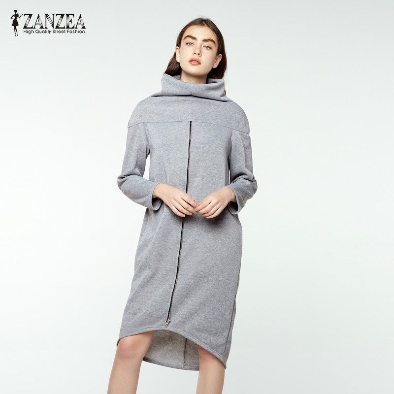 Plus Size ZANZEA Autumn Long Sweatshirt Women Turtleneck Long Sleeve Zipper Brief Loose Dress Solid Irregualr