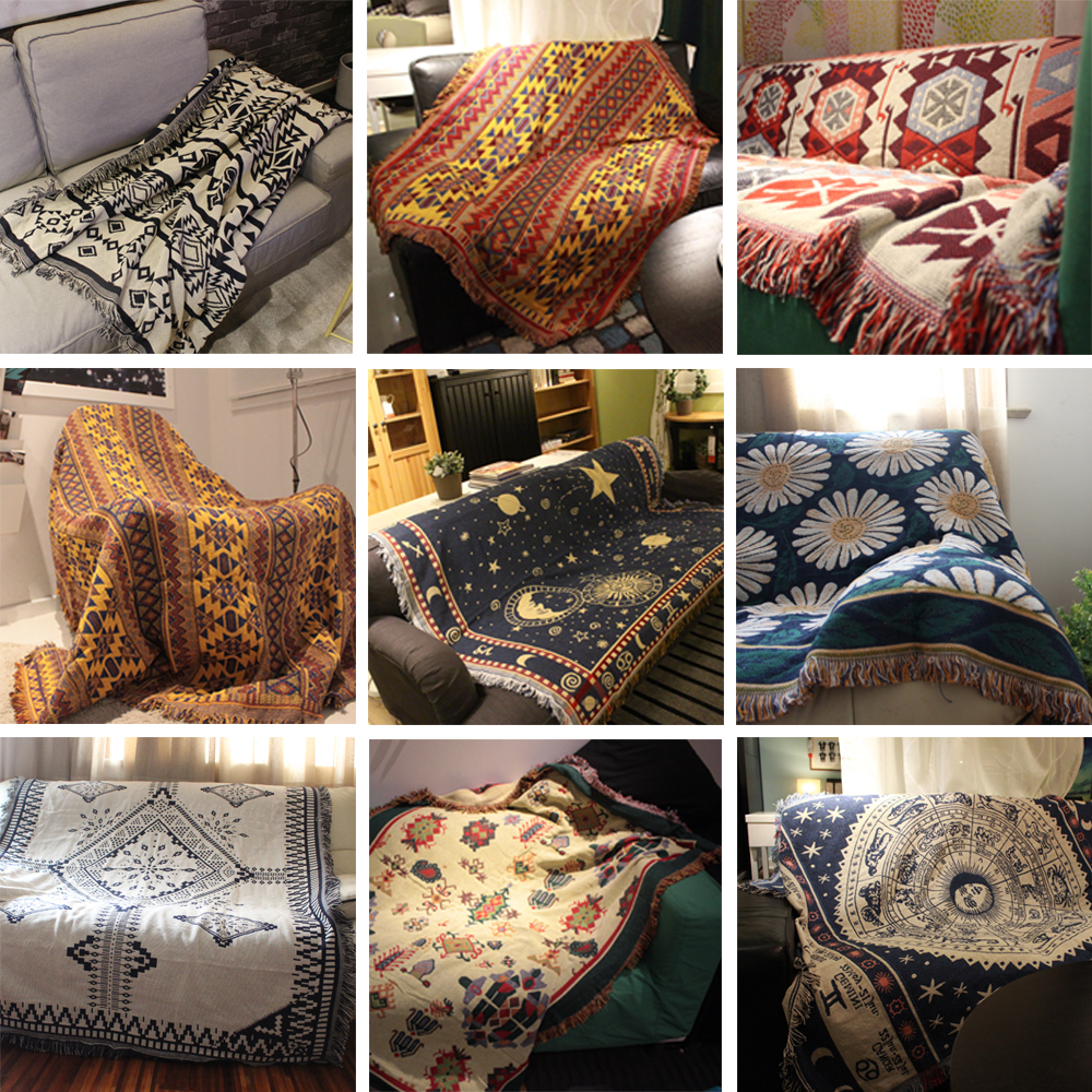 Cotton Knitted Sofa Blanket Thread Blanket or Beds Soft Bed Plaid Vintage Home Decor Tapestry Kilim