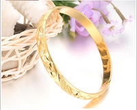 Wholesale Retail Hot Selling Solid 18K Yellow Gold Filled Round Womens Plain Bangle Bracelet 60mm 8mm
