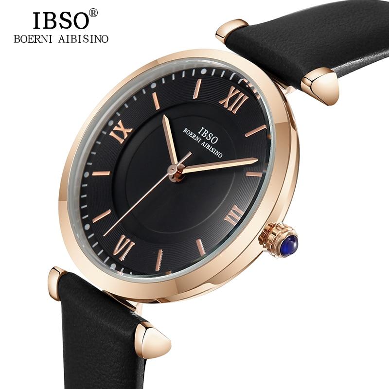 IBSO Black Fashion Women Leather Wrist Watch Montre Femme 2018 Top Brand Luxury Rose Gold Quartz Watch Female Clock #6602 цена