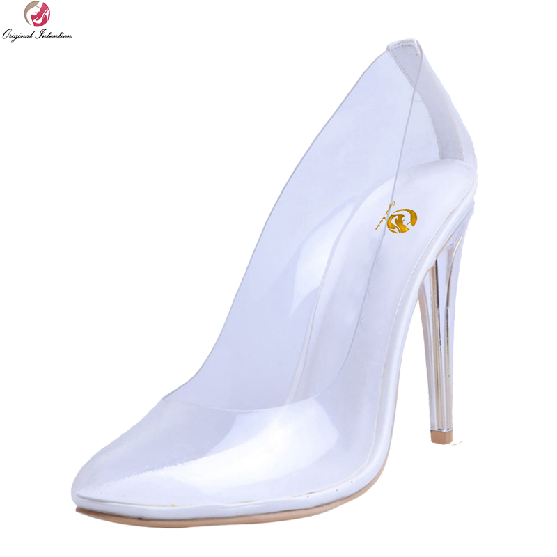 Original Intention Super Sexy 2018 Women Pumps Nice Round Toe Thin Heels Pumps Fashion Transparent Shoes Woman Plus US Size 4-15 big size 40 41 42 women pumps 11 cm thin heels fashion beautiful pointy toe spell color sexy shoes discount sale free shipping