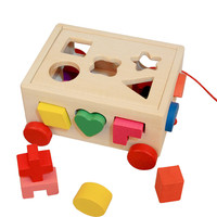 Kids Baby Wooden Learning Geometry Educational Toys Puzzle 3D IQ Puzzle For Kids Children Early Learning 3D Shapes Wood Jigsaw