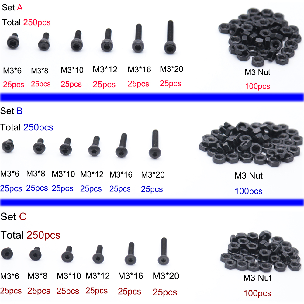250Pcs/set M3 Hex Socket Screws Bolt Hex Nuts Kit Set Assortment Kit Black Alloy Steel Hardware Cap Button Flat Head For Chooice