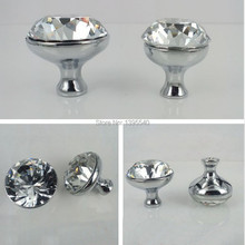 New 10pcs K9 30mm Clear Crystal Cabinet Knobs Furniture Drawer Handles Glass Wardrobe Pulls Cupboard Hardware Shoes Box Knobs