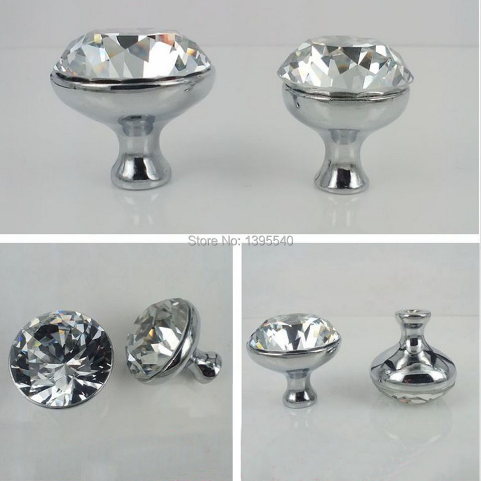 new 10pcs k9 30mm clear crystal cabinet knobs furniture drawer handles glass wardrobe pulls cupboard hardware