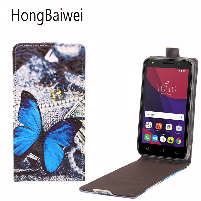 HongBaiwei For Alcatel One Touch Pixi 4 5045X Case Girls Butterfly Pattern Vertical Flip Leather Phone Case Cover
