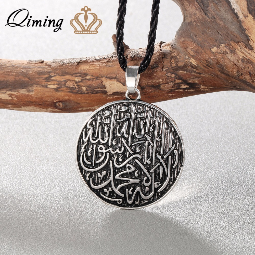 QIMING Antique Arabic Name Necklace Female Women Men Muslim Engraved Shahada Pendant Allah Vintage Ethnic Necklace Jewelry