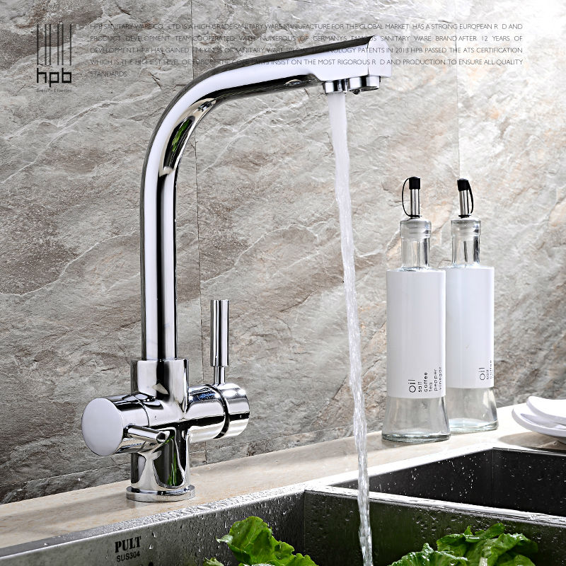 HPB Brass Chrome Brushed Polished Two Functions Kitchen Sink Mixer Filtered Faucet 2 Holes Drinking Water