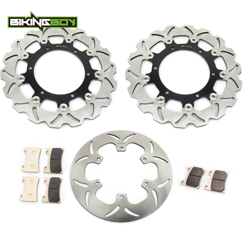 BIKINGBOY Front Rear Brake Discs Rotors Disks Pads for Yamaha VMX 12 V Max 1200 93