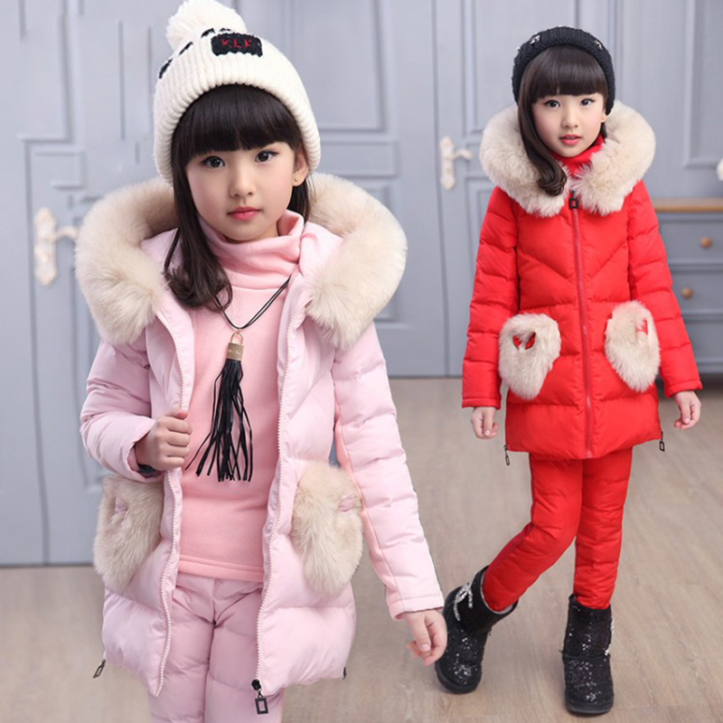 Children's Suit girl Winter Jacket Down Cotton Jacket Three Pieces Of 2017 Added A new Winter Cotton Dress 3-14T glasgow k girl in pieces