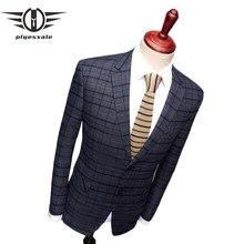 Plyesxale café azul marino Plaid Blazer hombres de negocios de alta calidad  Formal Blazers para hombres otoño Mens Blazers Casua. d0ff27e7e70
