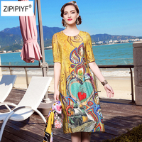 2018 Summer New Plus Sizes Personality Print 100% Silk Mid Calf Dress Vintage Women's Holiday Casual Beach Dresses Robe B681