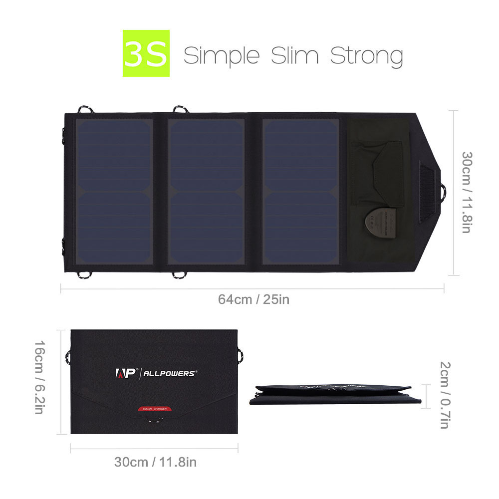 Image 2 - ALLPOWERS 5V 12V 18V Solar Panel Battery Charger Portable SunPower Solar Charger for iPhone Samsung iPad Car Battery Laptop-in Solar Cells from Consumer Electronics