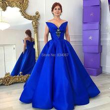 Royal Blue Satin Ballkleid Prom Kleider 2017 vestidos de gala neues Design v-ausschnitt Concise Langes Kleid Formales Anlass Kleider
