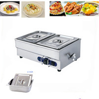 1 Piece Stainless Steel Table Top Bain Marie Commercial Electric Buffet Container Wet Heat Soup Tray