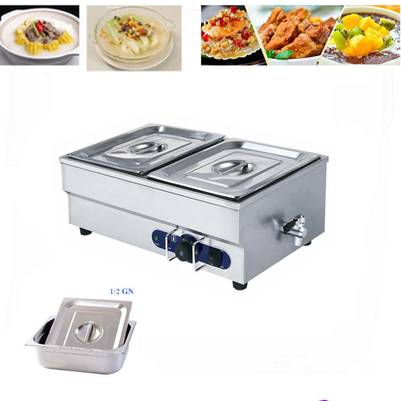 1 Piece Stainless Steel Table Top Bain Marie Commercial Electric Buffet Container Wet Heat Soup Tray Equipment