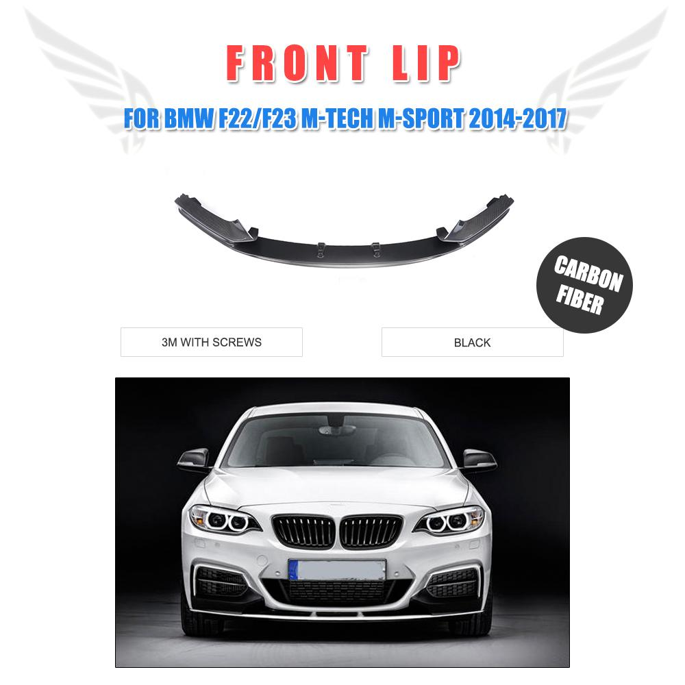 Front Bumper Lip Spoiler for BMW 2 Series 220i 230i 235i 228i F22 M Sport 2Door Only 2014-2017 P style Carbon Fiber / FRP Black 2 series carbon fiber car bumper front lip diffuser for bmw f22 m sport coupe only 14 17 convertible 220i 230i 235i 228i p style