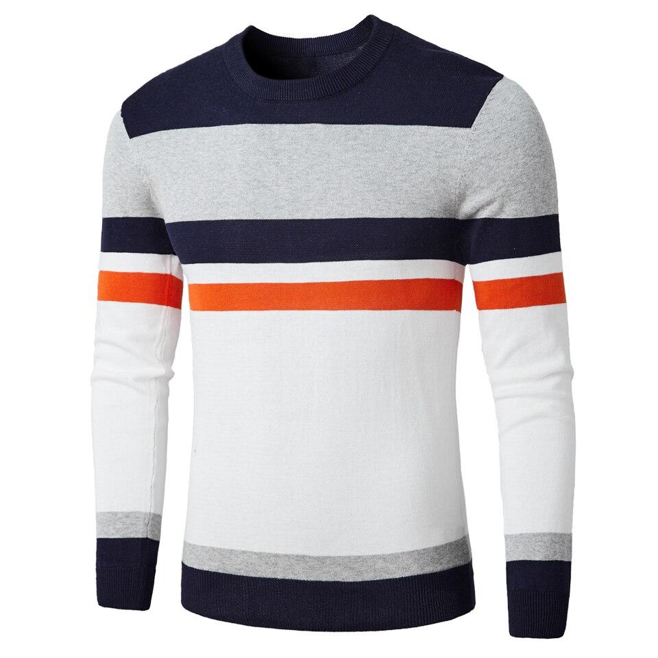 Men 2018 Autumn Fashion Casual Striped Cotton Sweater Men O-Neck Warm 100% Cotton Knit Men'S Sweaters Pullovers Coat Men