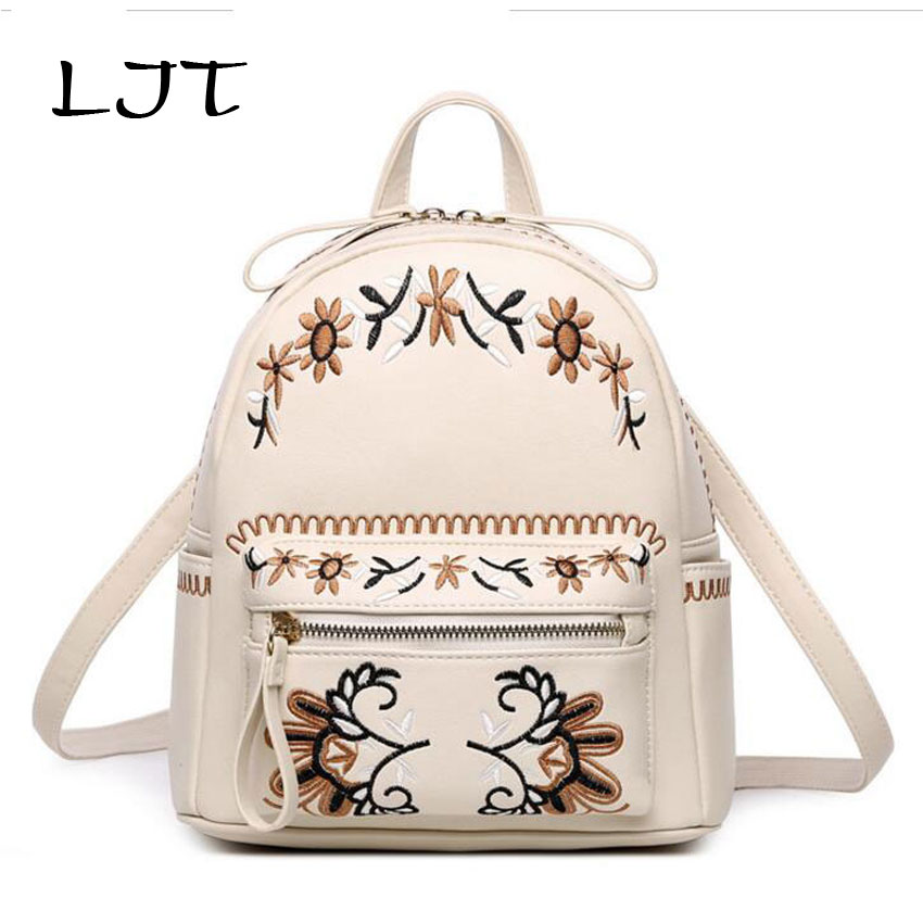 LJT Women Backpack Retro Mini Backpack 2017 Autumn Winter Embroidered National Shoulder Bag Students School Bags Travel Rucksack ljt 2017 winter creative personality women shoulder bag 3d stereo cool dog pu leather cute cartoon backpack travel
