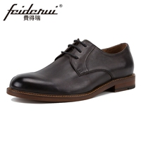 2018 Hot Sale Genuine Leather Men S Handmade Footwear Round Toe Derby Man Party Flats Formal