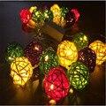 Fary 4 М 20 LED ЕС/США Многоцветный Ротанга Мяч СВЕТОДИОДНЫЕ Строки Освещение Праздник Рождество Свадьба Занавес Украшения светильники для Подвесных