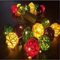 Fary 4M 20 LED EU/US Multicolor Rattan Ball LED String Lighting Holiday Christmas Wedding Party Curtain Decoration Lights Drop