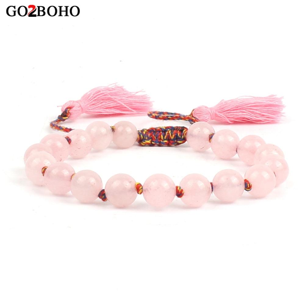 Go2boho Dropshipping Pink Bracelet Women Friendship Bracelets Weave Jewelry Tassel Mala Beads Femme Gifts Natural Gem Stones New