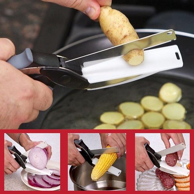 2 em 1 Tesoura Utility Cortador Faca & Smart Board Chef Ourdoor Batata Aço Inoxidável Carne Queijo Vegetal Kitchentool