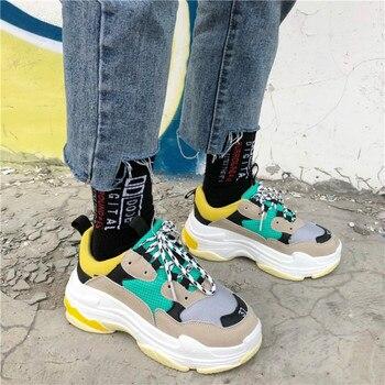 INS суперзвезда Для женщин Коренастый кроссовки 2018 модные кроссовки Для женщин на платформе dadly обувь на шнуровке женские кроссовки Chaussure Femme