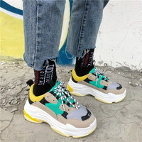 INS superstar Women's Chunky Sneakers 2018 Fashion Basket Women Platform dadly Shoes Lace Up Woman Trainers Chaussure Femme