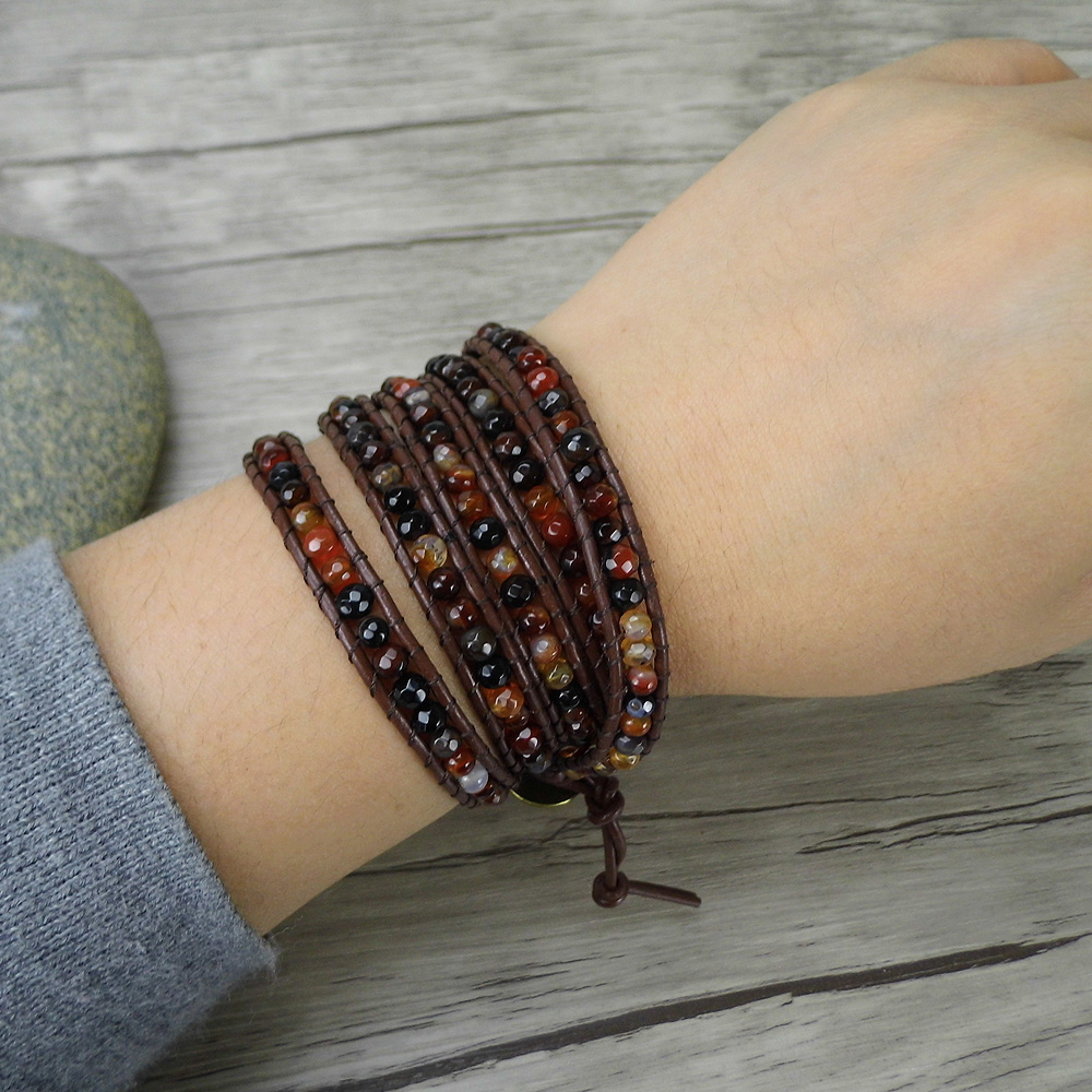 Us 22 9 Fancy Wrap Bracelet Natural Stone Red Bead Boho Leather Yoga Facted Beads Woman Jewelry In Bracelets From