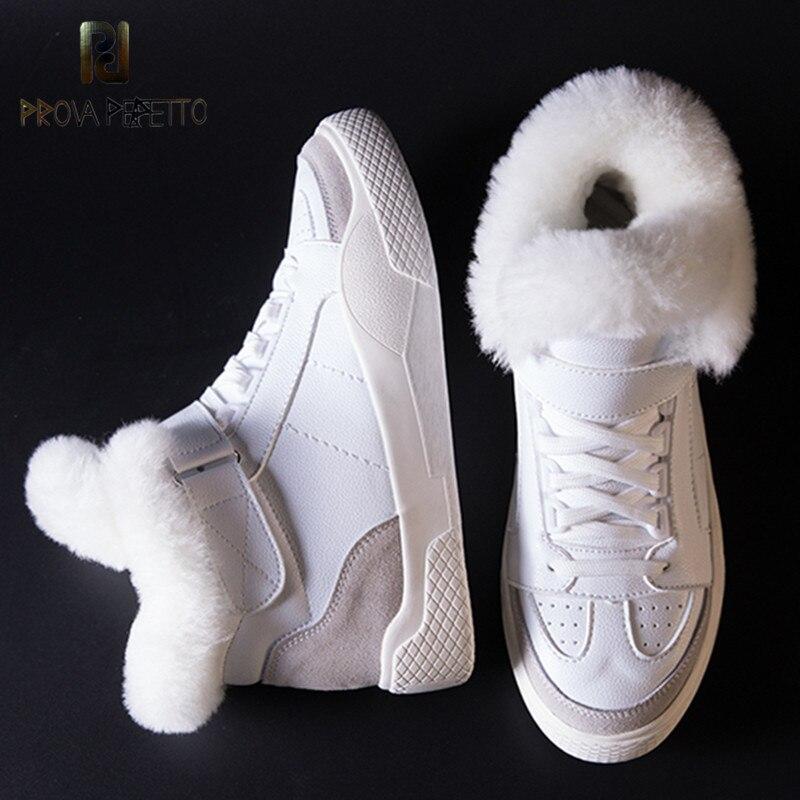 Perfetto Prova Botas 2018 Botas De Neve Pele Morno das Mulheres Feminino Lace up Flat Shoes Casual Botas Meninas Inverno sapatas da sapatilha