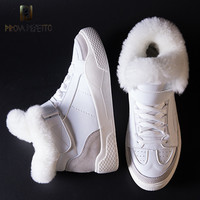 Prova Perfetto Women's Boots 2018 Warm Fur Snow Boots Female Lace up Flat Shoes Woman Casual Boots Girls Winter Sneaker Shoes