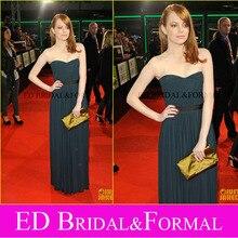 Emma Stone Grau Abendkleid Helfen Deutschland Premiere Berühmtheits-roter Teppich Chiffon Lange Promi Formale Kleid