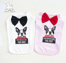 New Arrival On Sale Dog Pattern Design Sleeveless Pet Dog Spring/summer Vest Shirt Clothes Gentalman Style Dogs Apparel