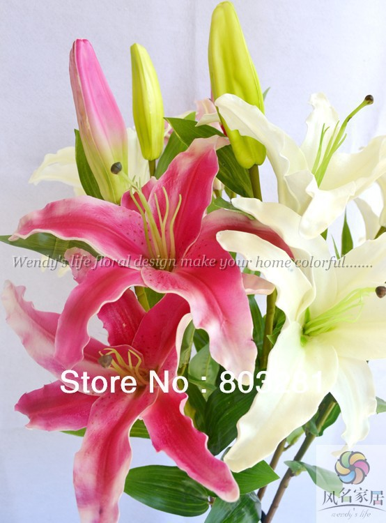 Free shipping the pu simulation flowersthree big flower petals pink free shipping the pu simulation flowersthree big flower petals pink white lilies90 cm long in artificial dried flowers from home garden on mightylinksfo