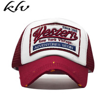 Unisex Vintage Western Letters Embroidered Logo Patch Baseball Cap Breathable Mesh Back Casual Distressed Snapback Trucker Hat недорого