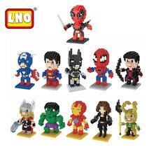 Nanoblock mini super heroes figuras de ação hulk capitão américa batman spiderman ironman micro brinquedos tijolos de plástico quente para as crianças