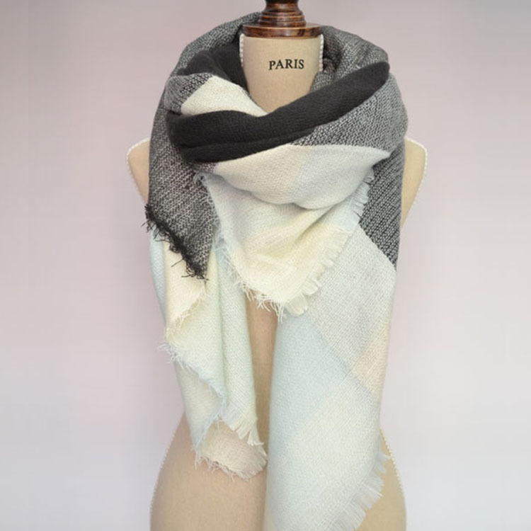 140x140cm Za winter acrylic cashmere font b tartan b font plaid scarf brand blanket shawl designer